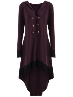 Lace-up Plus Size Hooded High Low Coat - Wine Red 3xl