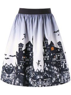 Halloween Castle Print Ombre Swing Skirt - White And Black 2xl