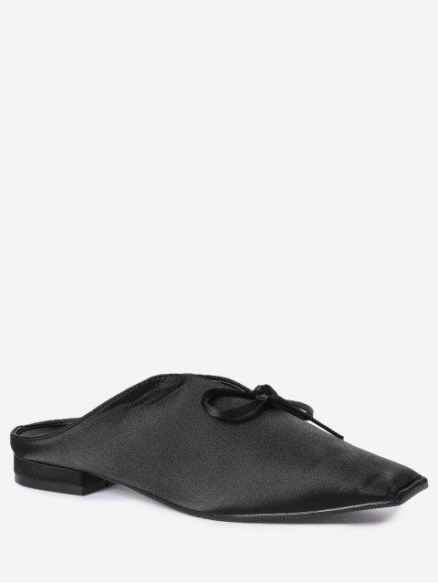 online Square Toe Bowknot Satin Slippers - BLACK 38 Mobile