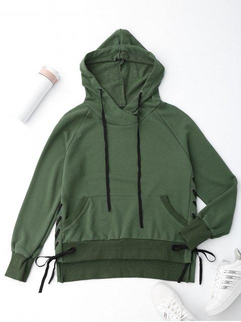 Sweat à capuche à lacets - Vert S Mobile