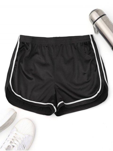 Shorts élastiques en satin et sport - Noir S Mobile