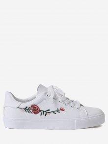 فو الجلود زهرة التطريز الأحذية الرياضية - أبيض 37