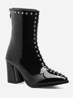 Stud Patent Leather Pointed Toe Ankle Boots - Black 39