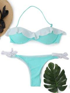 Tie Side Flounce Underwire Bikini - Light Green L