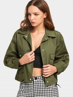 Metallic Rings Snap Button Cropped Jacket - Army Green