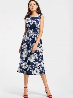Smocked Waist Floral A Line Midi Dress - Floral L
