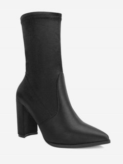Pointed Toe Satin Chunky Heel Boots - Black 39