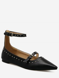 Buckle Strap Stud Ankle Strap Flats - Black 39