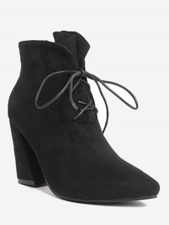 Pointed Toe Lace Up Ankle Boots - Black 38