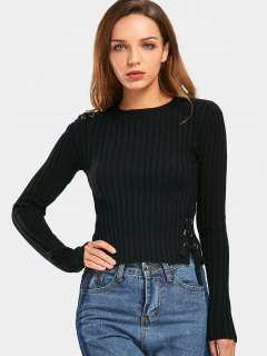 Ribbed Lace Up Knitwear - Black