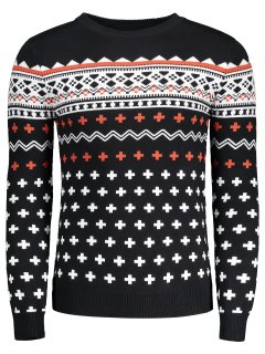 Crew Neck Mens Jacquard Sweater - Black L