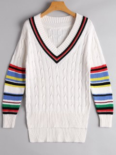 Colorful Stripe Cable Knit Sweater - White L