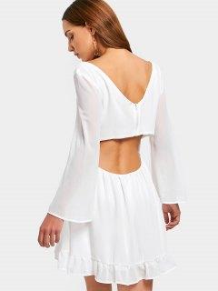Criss Cross Cut Out Robe En Mousseline De Soie - Blanc M