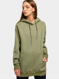 Kangaroo Pocket Loose Fit Flock Hoodie - Army Green M