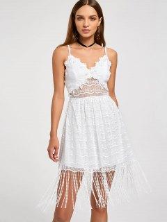 Fringe Lace Slip Dress - White Xl