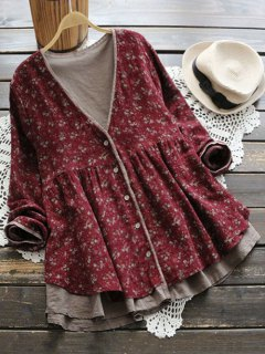 Plunging Neck Button Up Tiny Floral Blouse - Wine Red