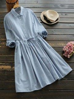 Drawstring Waist Striped Shirt Dress - Light Blue M