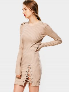 Knitted Lace Up Bodycon Mini Dress - Yellowish Pink