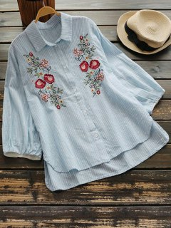 Floral Embroidery Drop Shoulder Shirt - Light Blue