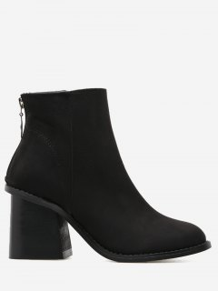Faux Suede Block Heel Ankle Boots - Black 38