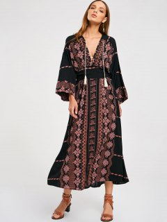 Empire Waist Printed Maxi Dress - Black L
