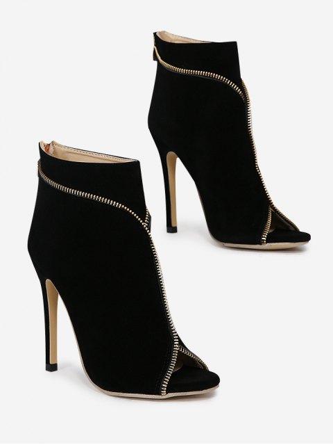 trendy Zip Embellished Peep Toe Stiletto Heel Boots - BLACK 38 Mobile