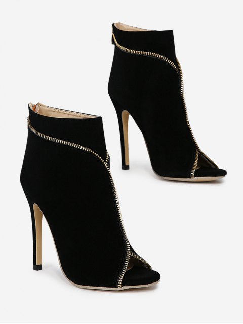 Zip Embellished Peep Toe Stiletto Heel Boots - Noir 40 Mobile