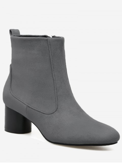 affordable Zipper Pointed Toe Chunky Heel Boots - GRAY 40 Mobile