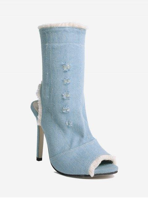 Peep Toe Denim Stiletto Heel Boots - Bleu 36 Mobile