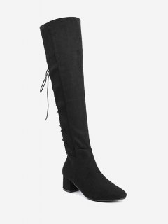 Chunky Heel Lace Up Over The Knee Boots - Black 39