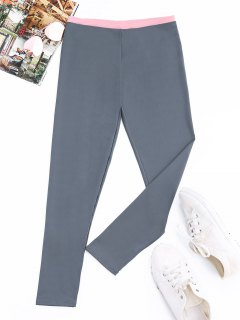 Patchwork Athletic Leggings - Blue Gray M