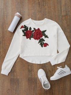 High Low Floral Applique Sweatshirt - White S