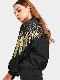 Zip Up Shiny Embroidered Bomber Jacket - Black M