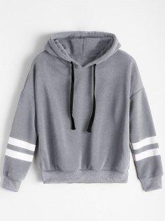 Drop Shoulder Striped Drawstring Hoodie - Gray