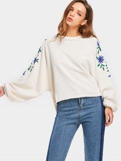 Raglan Sleeve Oversized Floral Sweatshirt - Off-white