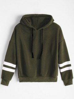Drop Shoulder Striped Drawstring Hoodie - Army Green