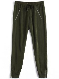 Casual Zipper Pocket Drawstring Pants - Army Green S