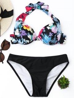 Push Up Floral Halter Bikini Set - Black L