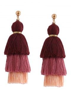Layered Tassel Earrings - Brown