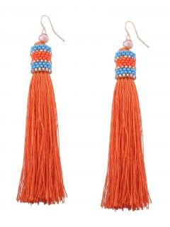 Vintage Tassel Beaded Hook Earrings - Orange