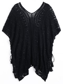 Lace-up Crochet Cover-up Dress - Black