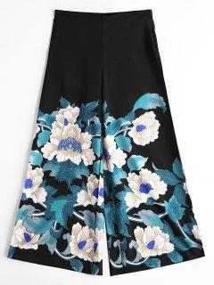 High Waisted Wide Leg Floral Pants - Black L