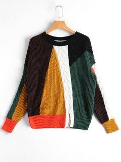 Slit Color Block Cable Knit Sweater - Multicolor