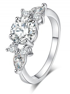 Zircon Brief Metal Ring - Silver 8