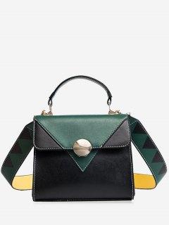 Color Blocking Geometric Faux Leather Crossbody Bag - Green