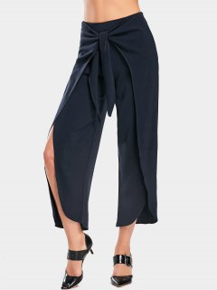 High Slit Bowknot Wide Leg Pants - Purplish Blue L