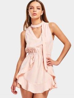 Ruffles Cut Out Choker Mini Dress - Rose Abricot S