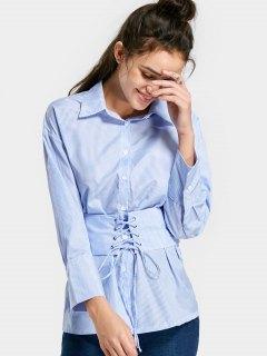 Chemise Rayée Boutonnée à Rayures - Bleu Clair L
