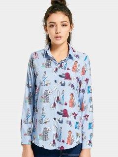 Chemise à Capuche Imprimée Boutonnée - Bleu Clair L
