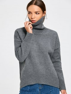 Turtle Neck Chunky Sweater - Gray